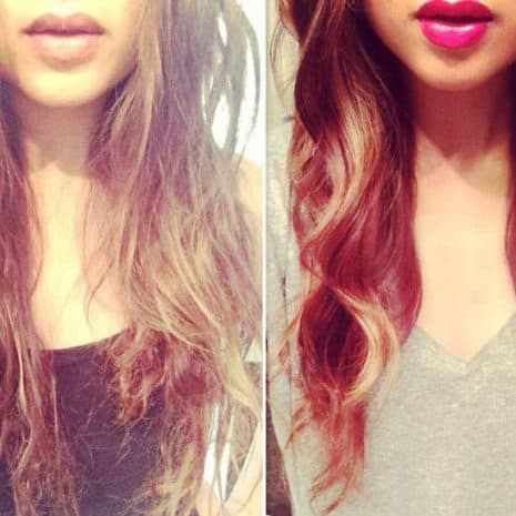 Before and after picture of woman using Darshana hair oil