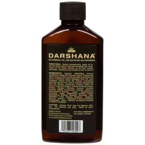 Darshana Natural Indian Hair Oil 6 fl. oz. back of bottle