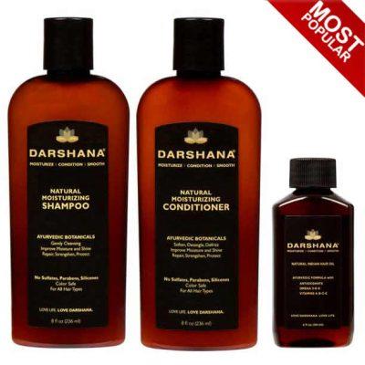 Darshana shampo, conditioner, and hair oil combination.